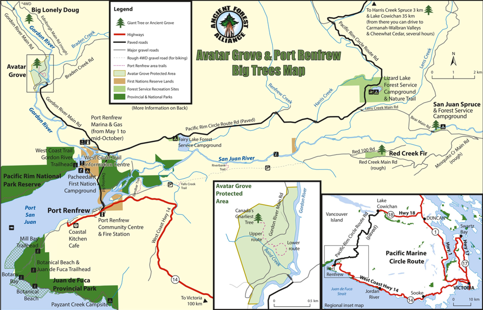 Avatar Grove and POrt Renfrew Big Trees Map Vancouver Island