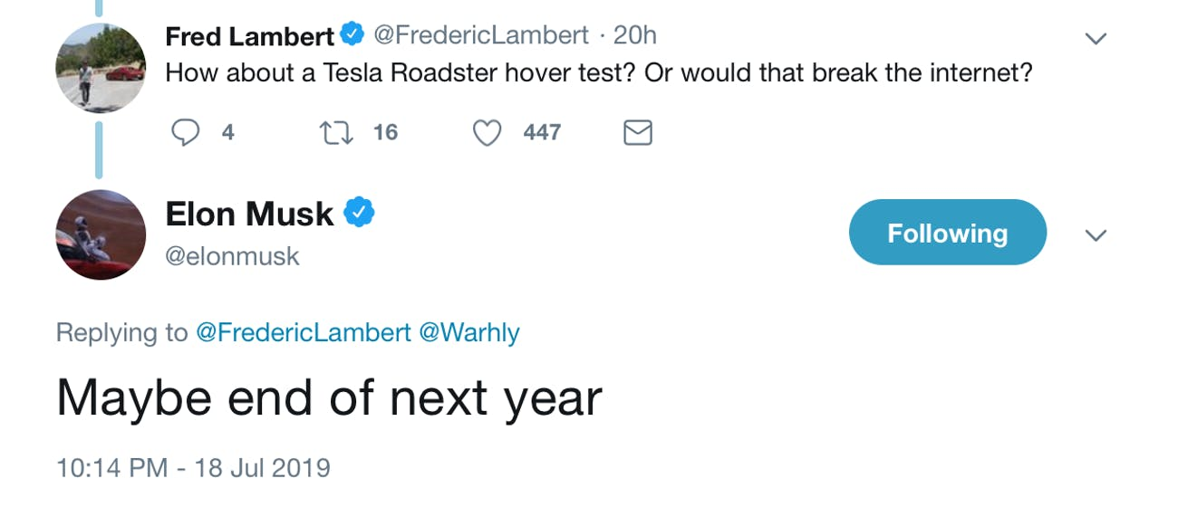 Musk's exchange on Twitter.