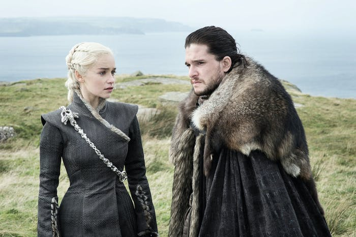 "Kit Harington as Jon Snow and Emilia Clarke as Daenerys Targaryen in 'Game of Thrones' Season 7 episode 5, ""Eastwatch"""