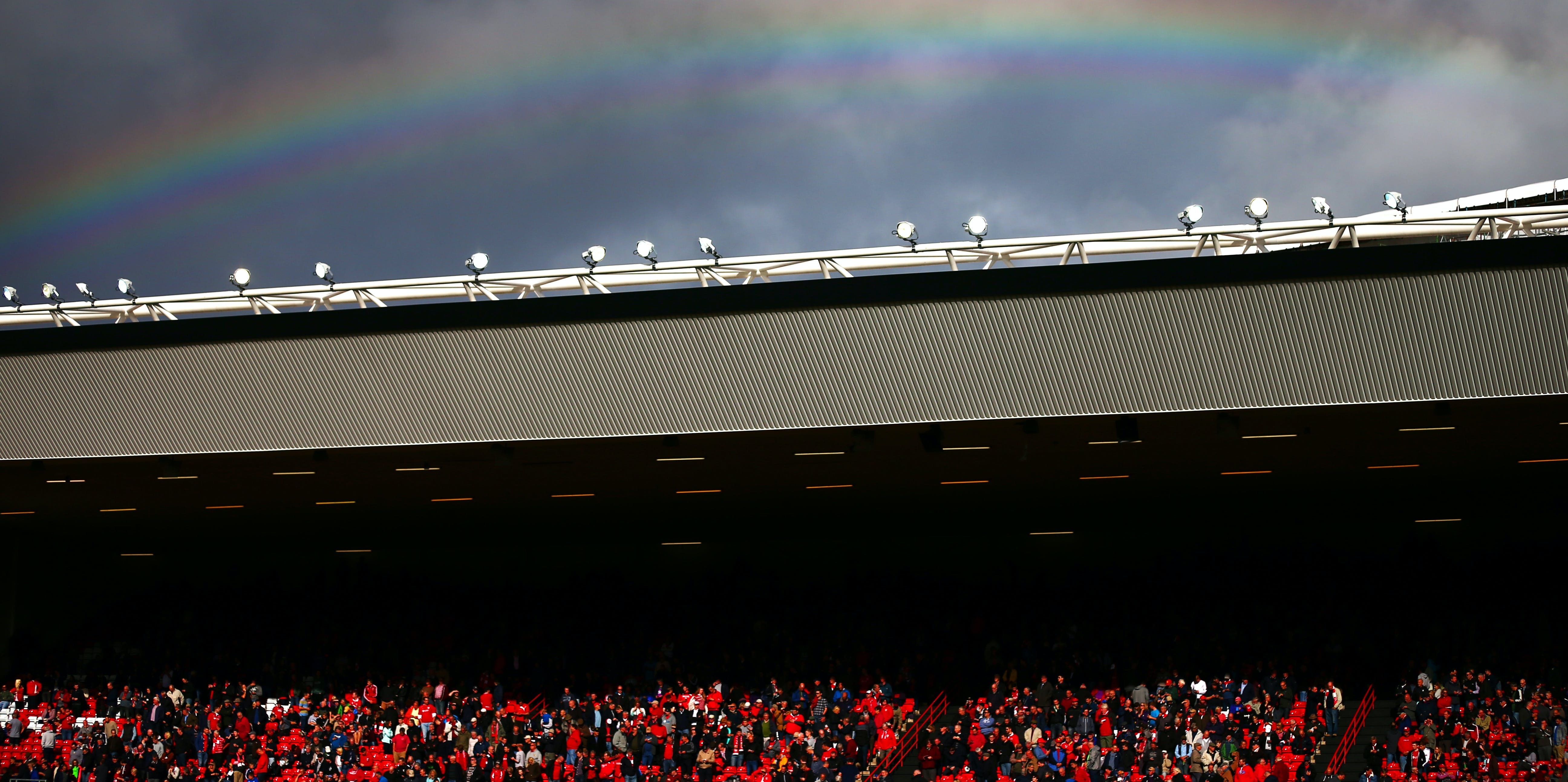 A rainbow forms over Bristol's Ashton Gate stadium.