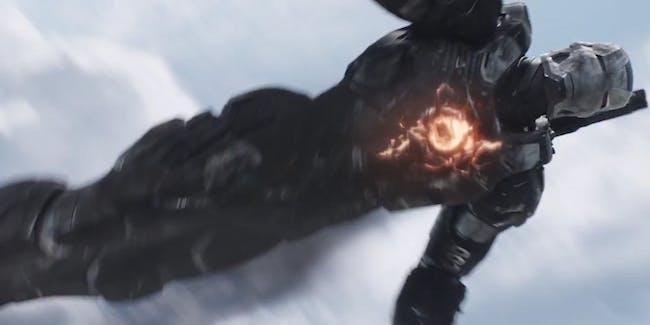 Don Cheadle as War Machine in Captain America Civil War