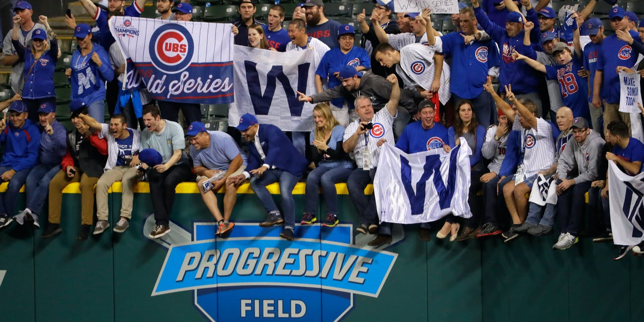 Celebrating Chicago Cubs fans.