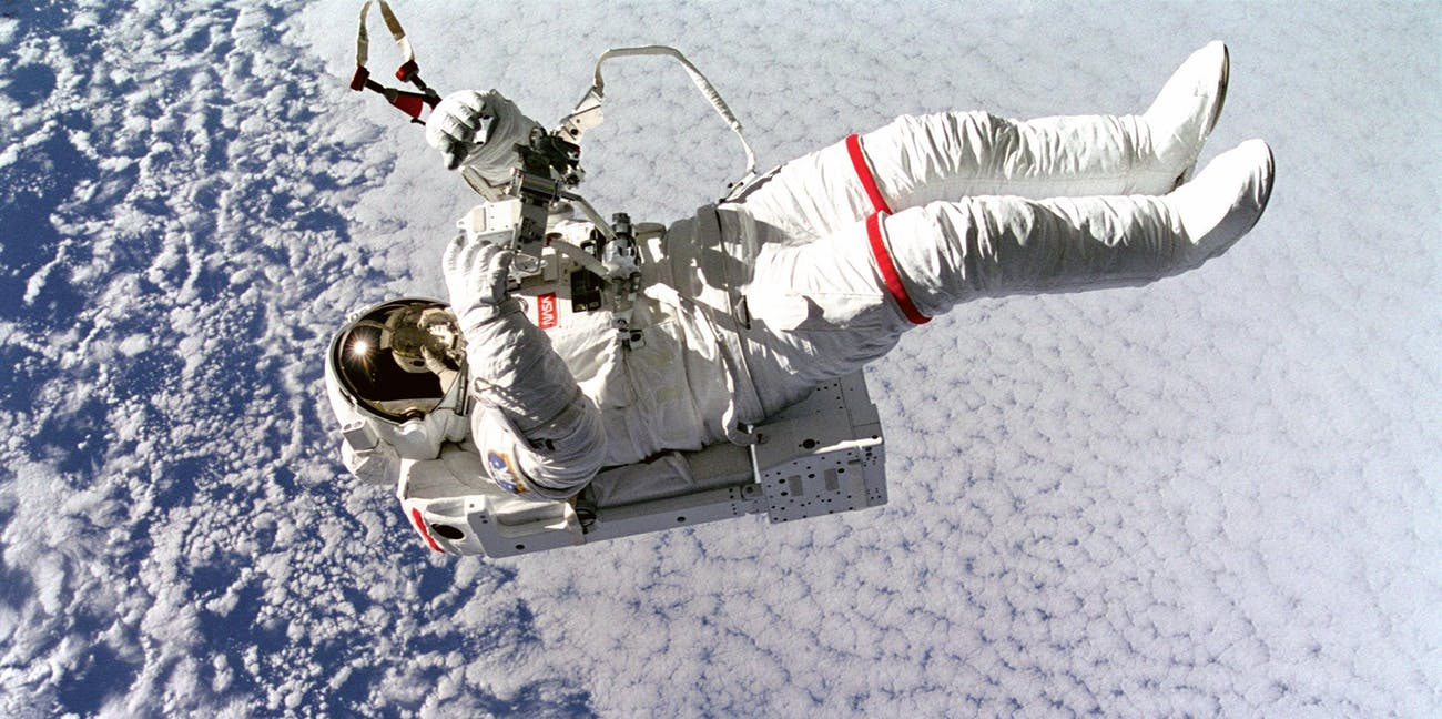 Astronaut Mark Lee in space.