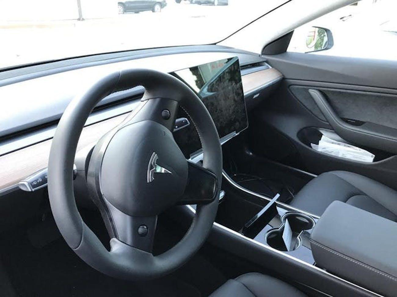 The Model 3 interior.
