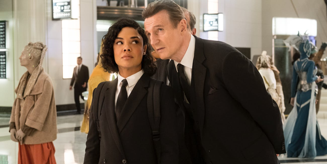 Thompson with Liam Neeson in 'Men in Black: International' review