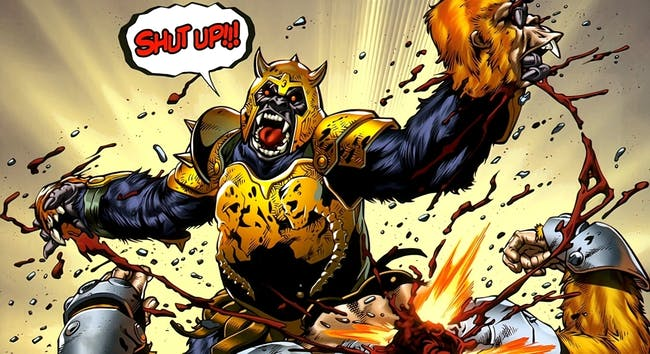 An armored Gorilla Grodd as he appears in DC Comics.