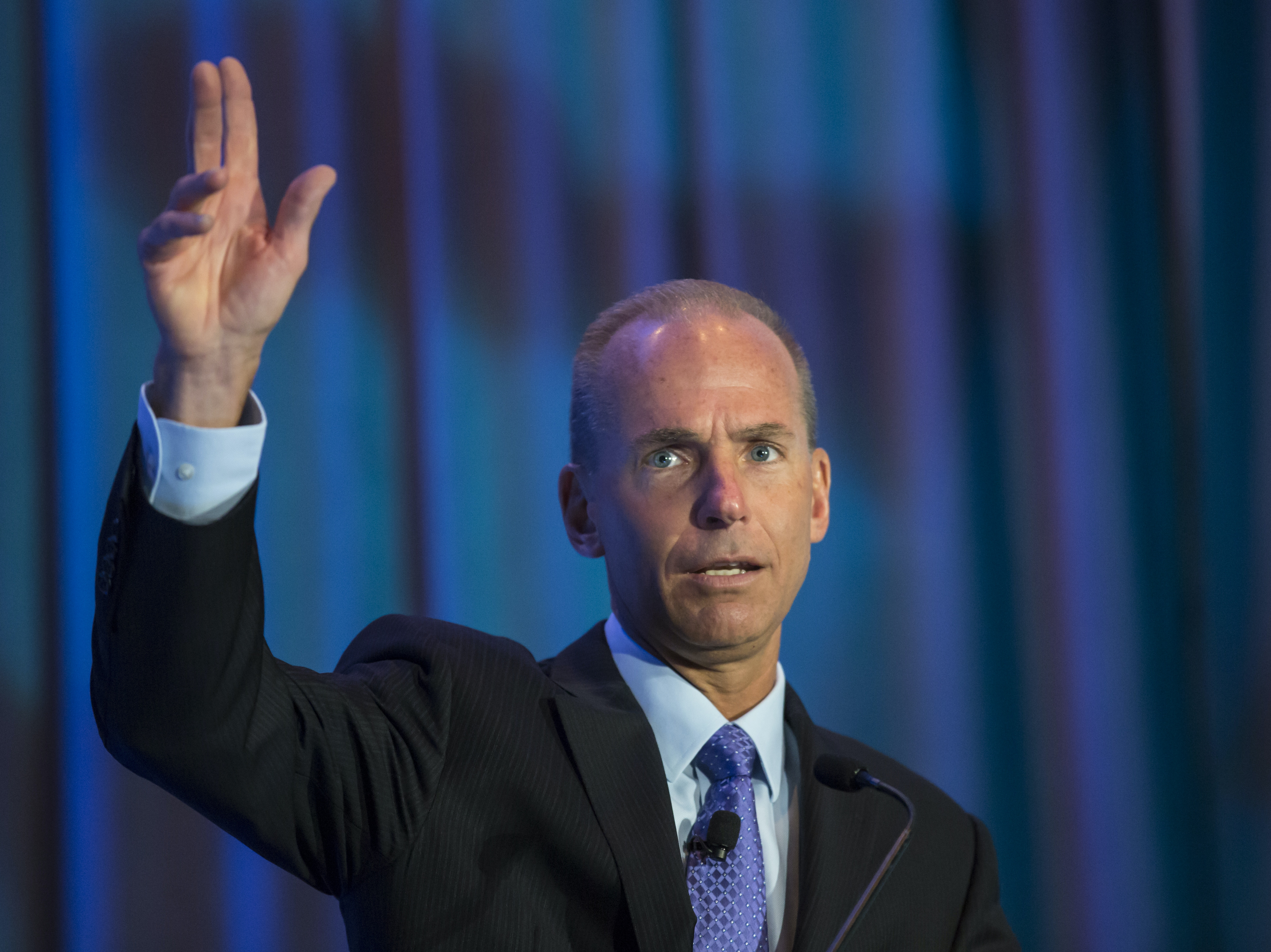 SEATTLE, WA - SEPTEMBER 22: Boeing CEO Dennis Muilenburg gives a keynote speech during the SAE Aerotech Congress on September 22, 2015 in Seattle, Washington. Muilenburg, who took over as Boeing CEO in July of 2015, will be giving Chinese President Xi Jinping a tour of Everett, Washington Boeing Factory during the president's visit to the United States. (Photo by Stephen Brashear/Getty Images)