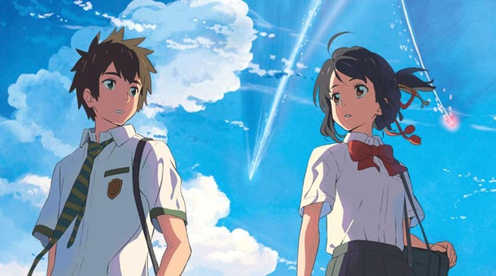 Taki Tachibana (left) and Mitsuha Miyamizu (right) lead very different lives but become inexplicably connected in this way.