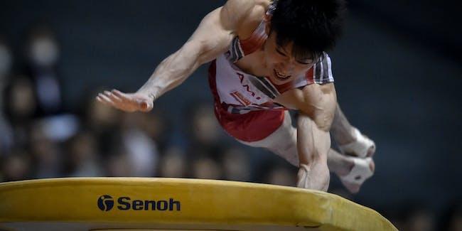 TOKYO, JAPAN - MAY 05:  Kohei Uchimura competes in the Horse Vault during the Artistic Gymnastics NHK Trophy at Yoyogi National Gymnasium on May 5, 2016 in Tokyo, Japan.  (Photo by Koki Nagahama/Getty Images)