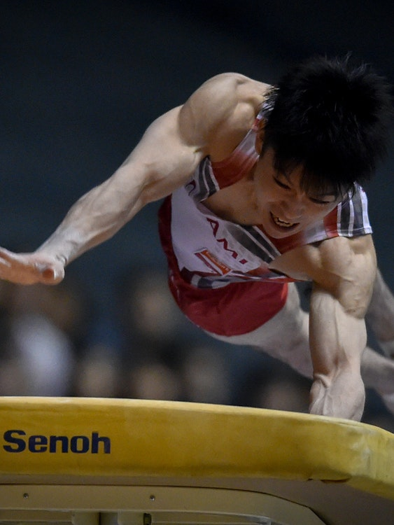 TOKYO, JAPAN - MAY 05:  Kohei Uchimura competes in the Horse Vault during the Artistic Gymnastics NHK Trophy at Yoyogi National Gymnasium on May 5, 2016 in Tokyo, Japan.  (Photo by Koki Nagahama/Getty Images)