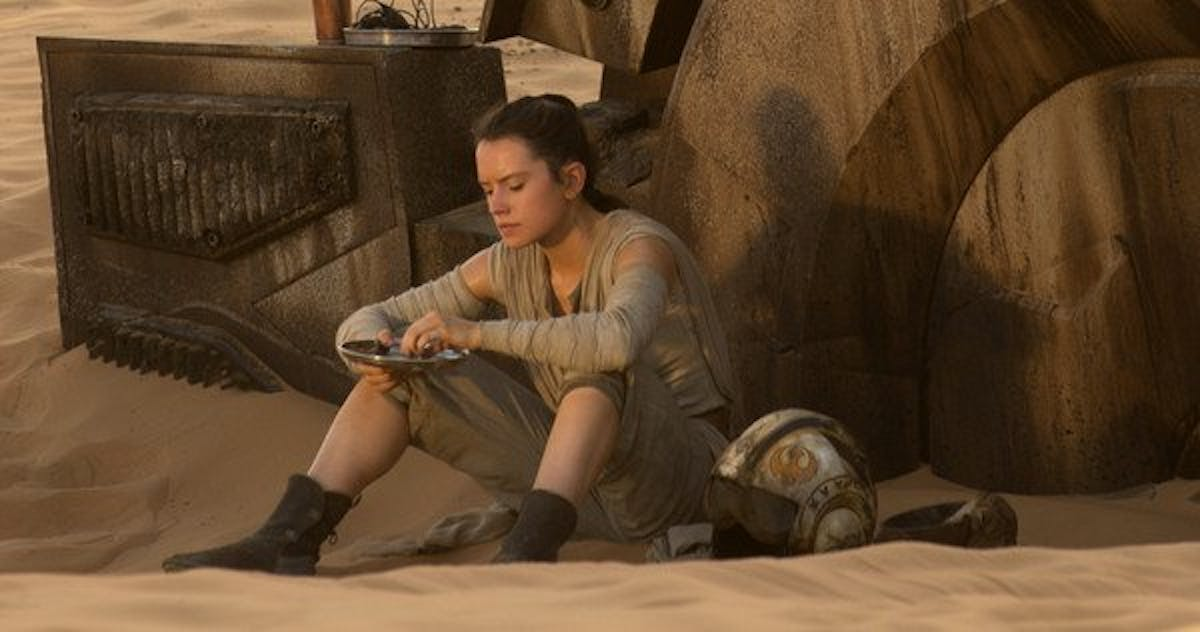 Rey on Jakku in 'The Force Awakens.'