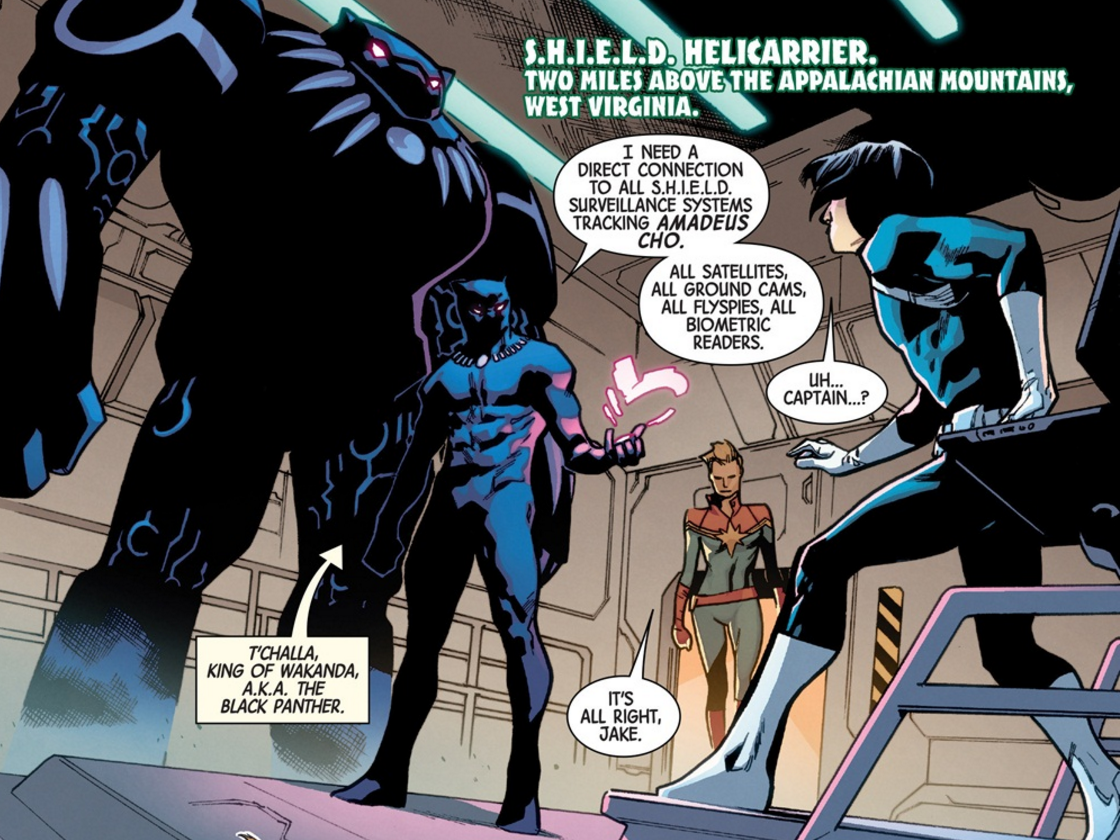 Black Panther and his Hulkbuster in Totally Awesome Hulk #10