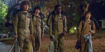 The kids dressed as Ghostbusters in 'Stranger Things': Season 2.