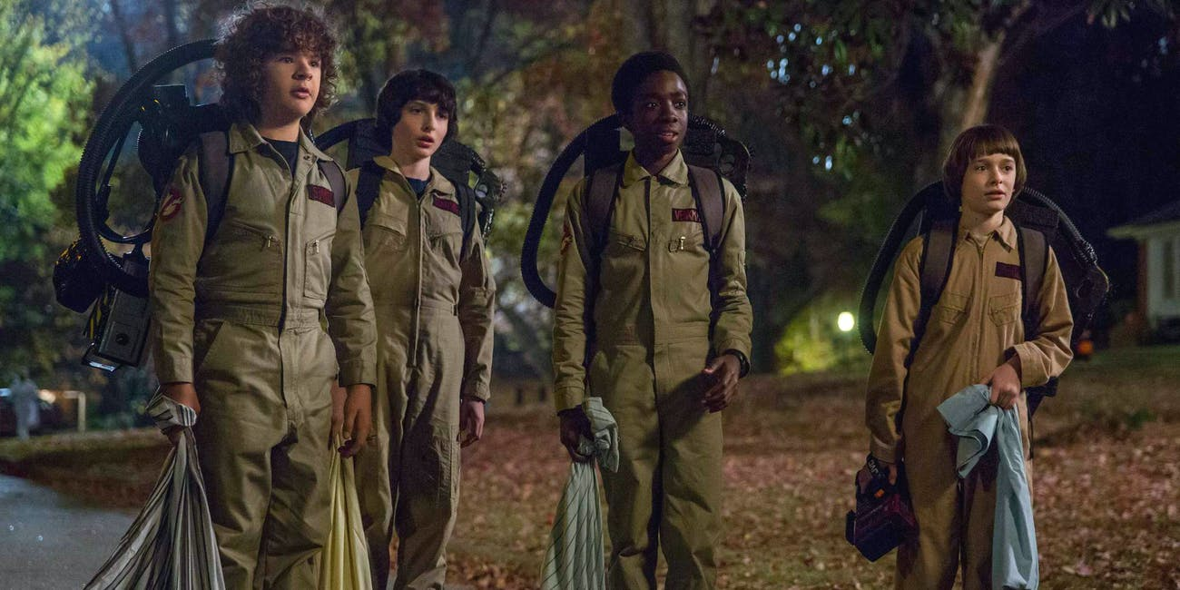 The kids dressed as Ghostbusters in 'Stranger Things': Season 2.
