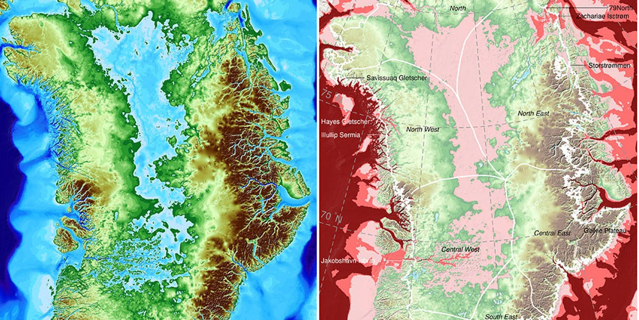 greenland map glacier melt