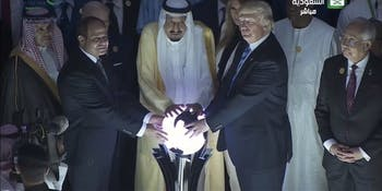 Trump Touched  a Glowing Orb in Saudi Arabia and the internet is freaked out