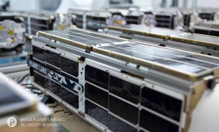 Close-up of Planet Labs' Dove satellite.