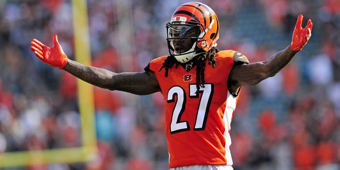 Cincinnati Bengals Cornerback Dre Kirkpatrick (27) pumps up the crowd during an NFL game between the Miami Dolphins and the Cincinnati Bengals on October 7, 2018, at Paul Brown Stadium in Cincinnati, Ohio.