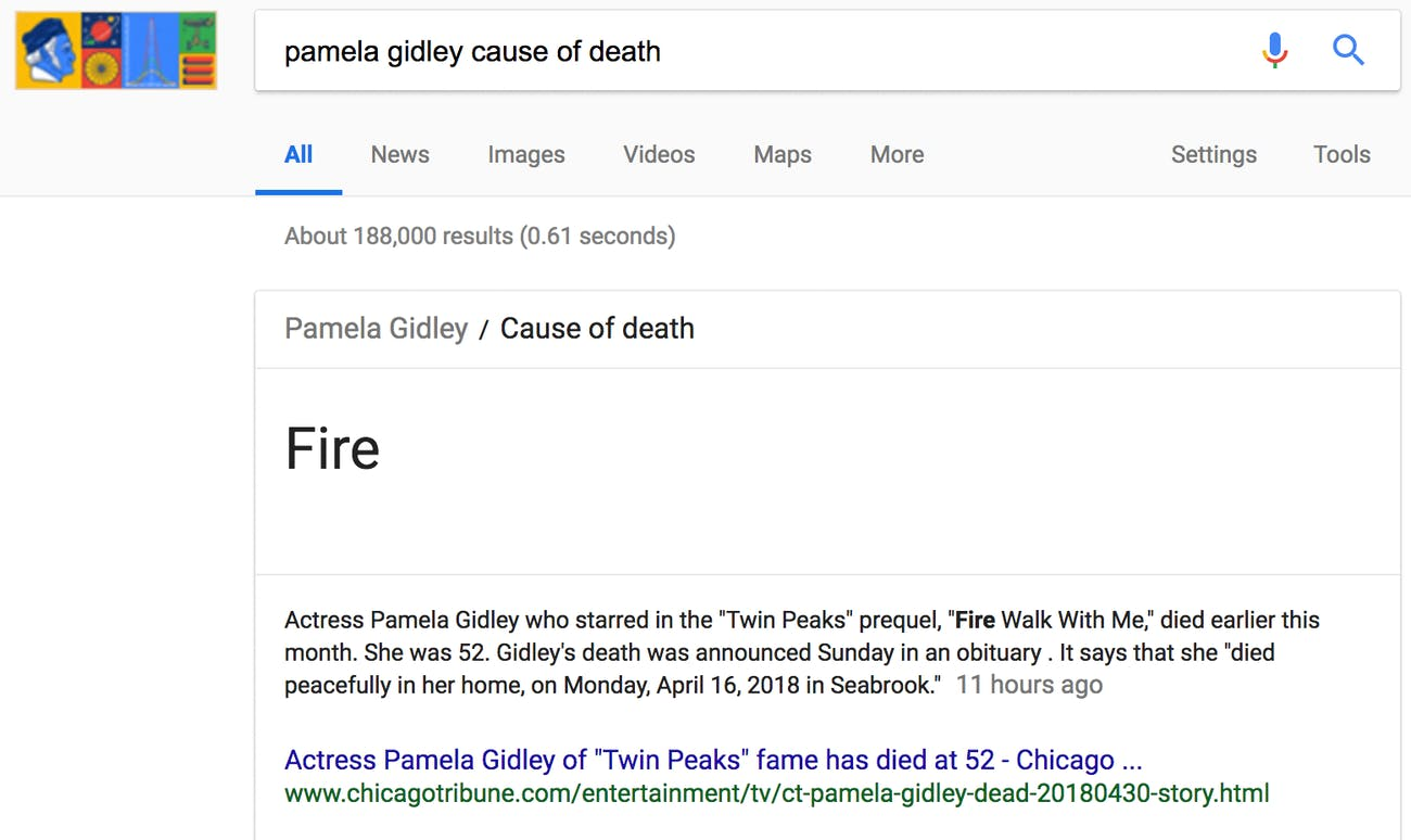 Pamela Gidley cause of death search result