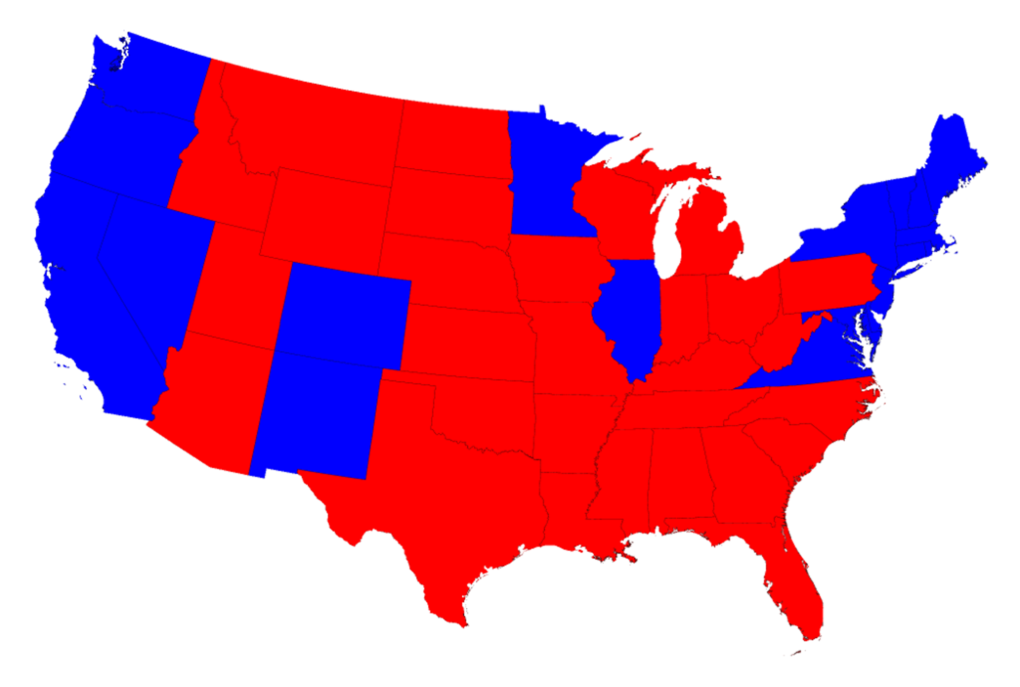 Red for Republican, blue for Democrat, of course.