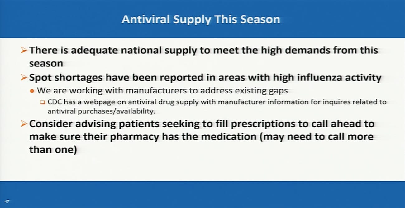 CDC antiviral recommendations