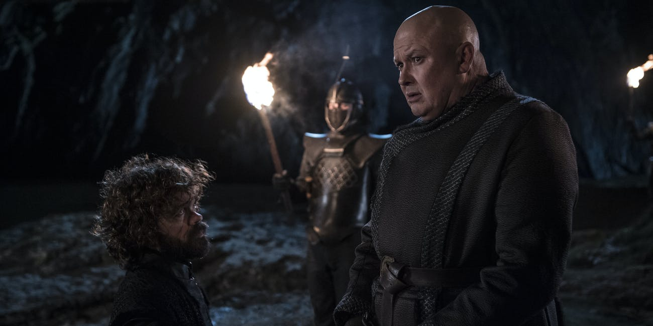 Tyrion (Peter Dinklage) and Varys (Conleth Hill) say their goodbyes on 'Game of Thrones'