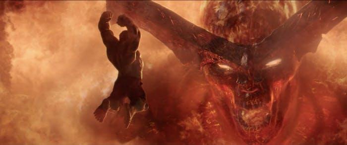Silly Hulk tries to fight Surtur.