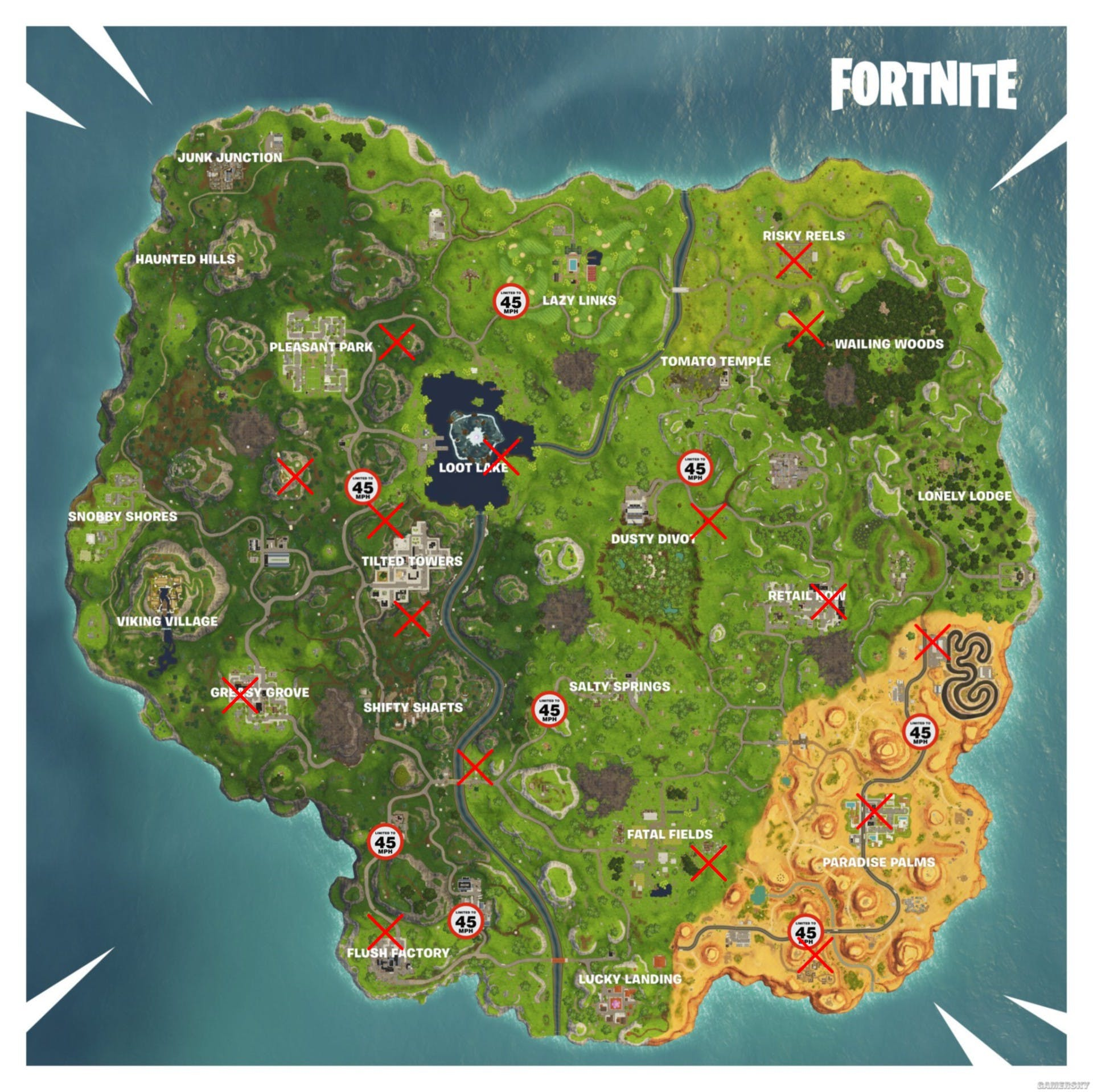 Fortnite Radar Signs Locations Map Where To Speed By Them For Week