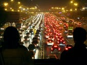 BEIJING, CHINA - NOVEMBER 15: (CHINA OUT) A heavy traffic jam is seen on the road at night on November 15, 2014 in Beijing, China. Beijing's traffic congestion index rose up to 9.5 during the first weekends after APEC summit on November 15 in Beijing. (Photo by VCG/VCG via Getty Images)
