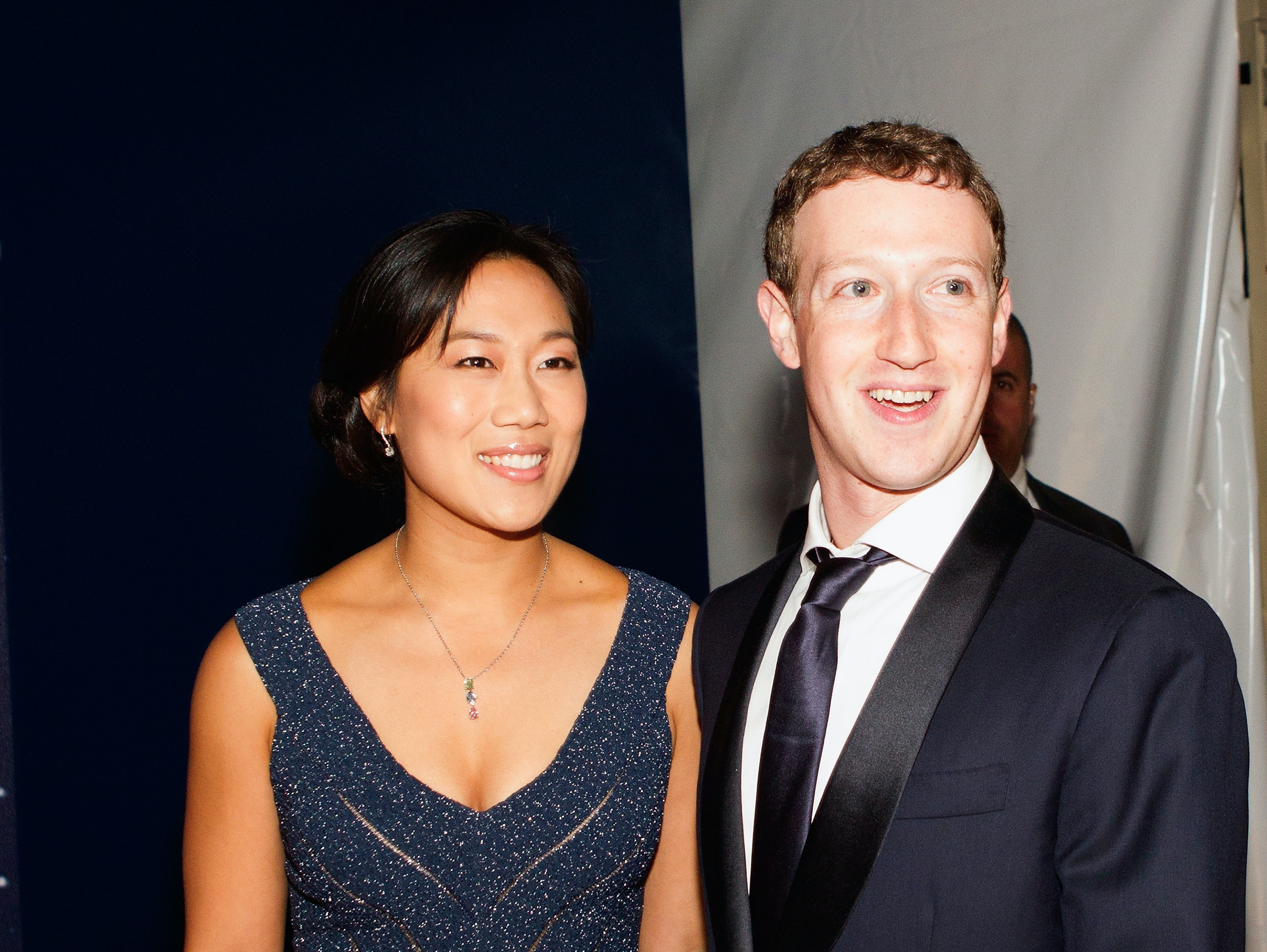 MOUNTAIN VIEW, CA - NOVEMBER 09:  Breakthrough Prize Co-Founders Priscilla Chan and Mark Zuckerberg attend. the Breakthrough Prize Awards Ceremony Hosted By Seth MacFarlane at NASA Ames Research Center on November 9, 2014 in Mountain View, California.  (Photo by Kimberly White/Getty Images for Breakthrough Prize)