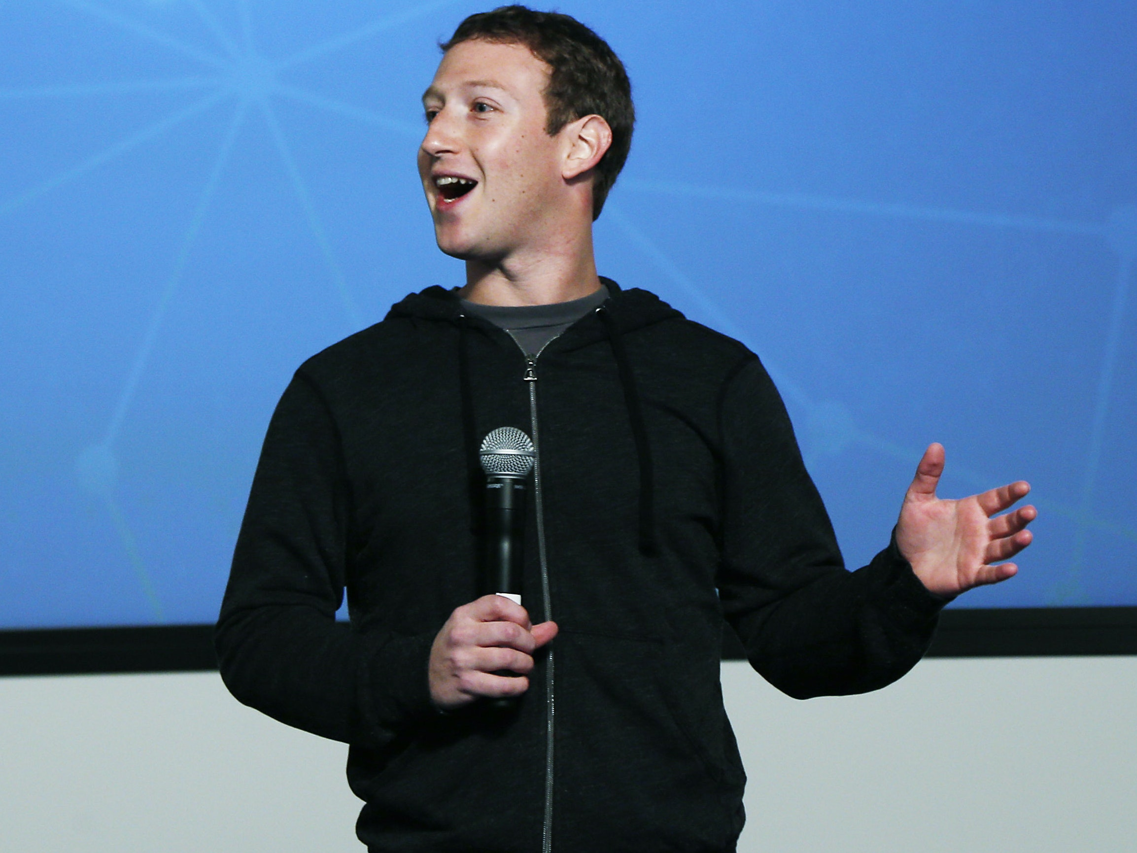 Facebook Chairman and Chief Executive Mark Zuckerberg introduces Graph Search features during a presentation January 15, 2013 in Menlo Park. Facebook announced a search function that works within the website and allows users to search content that people have shared with you or is public.