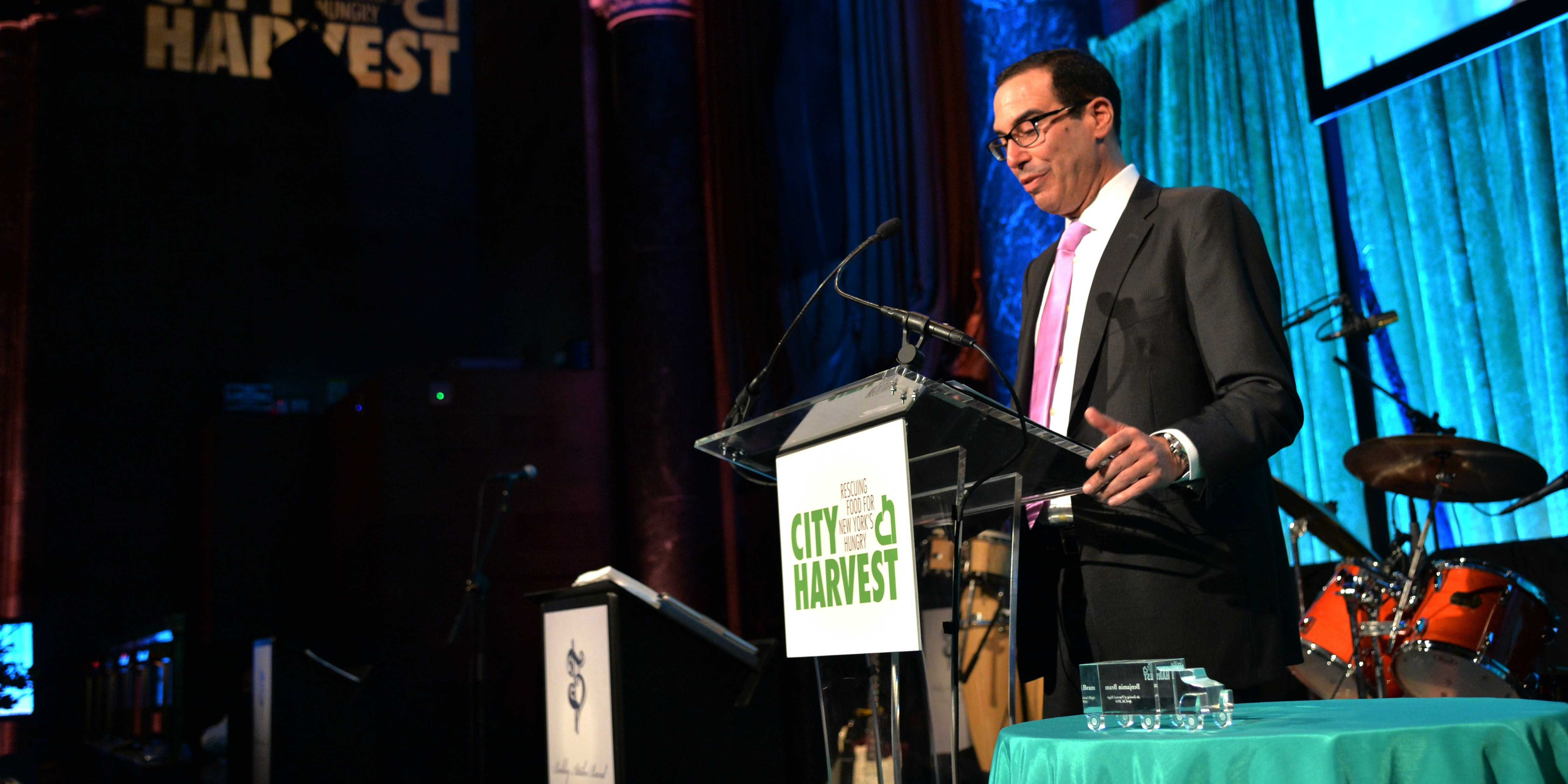 NEW YORK, NY - APRIL 24:  Steven Mnuchin speaks onstage at City Harvest: An Event Of Practical Magic on April 24, 2014 in New York City.  (Photo by Andrew H. Walker/Getty Images for City Harvest)