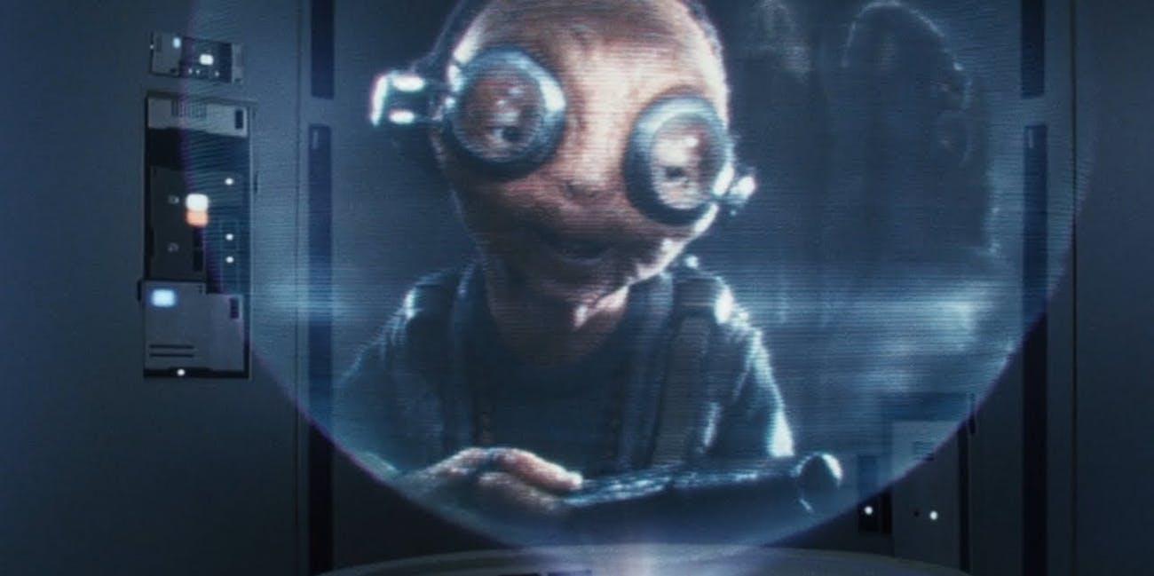 Maz Kanata via hologram message in 'Star Wars: The Last Jedi'