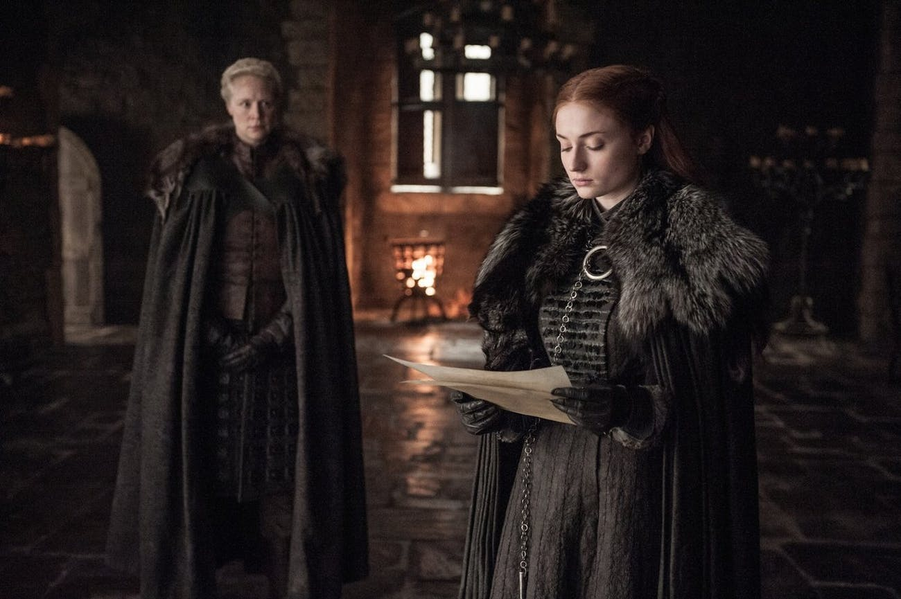 Sophie Turner and Gwendoline Christie in 'Game of Thrones