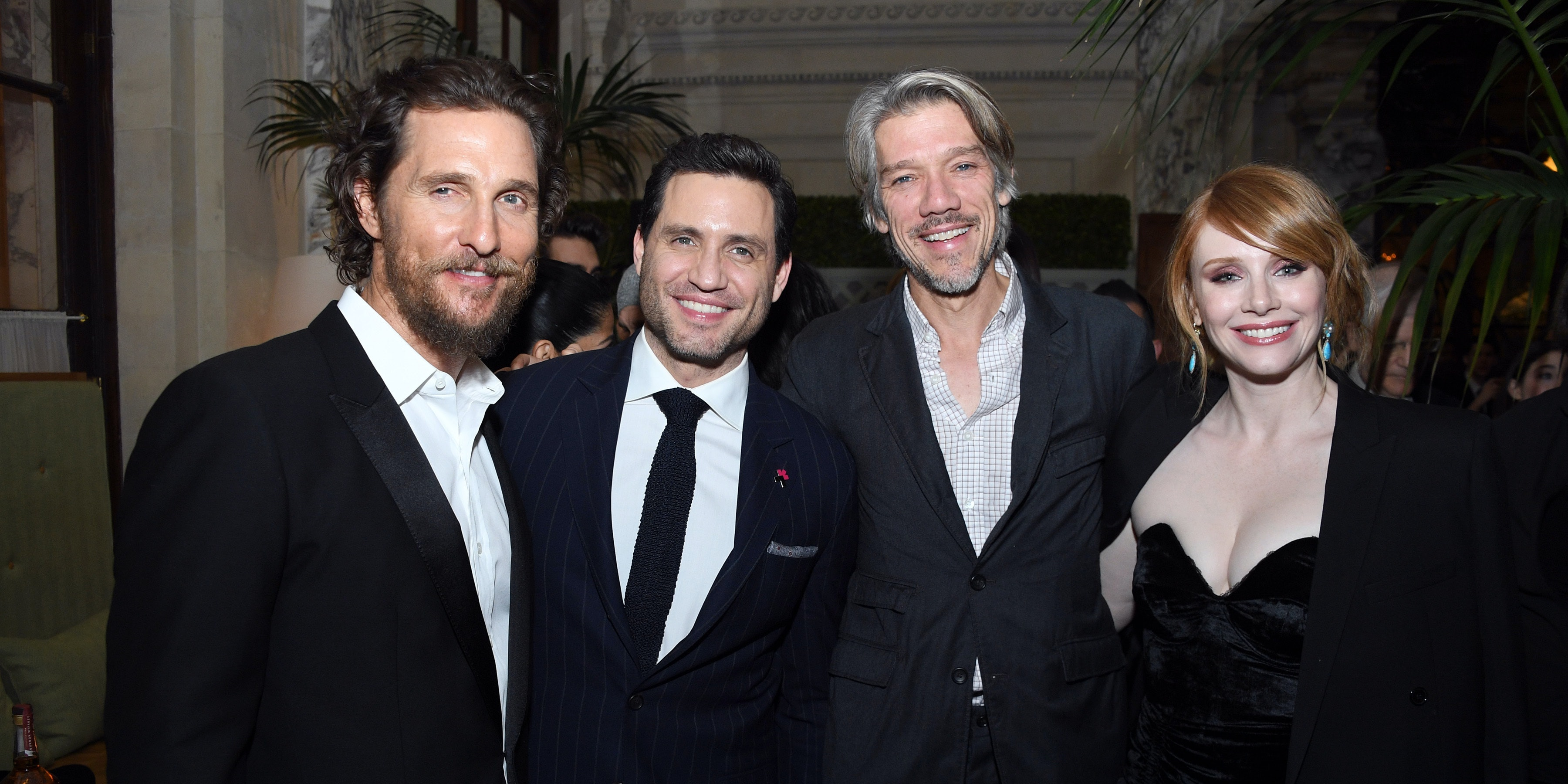 NEW YORK, NY - JANUARY 17:  Actors Matthew McConaughey and Edgar Ramirez; Director Stephen Gaghan; and Actress Bryce Dallas Howard attend the the world premiere of 'Gold'