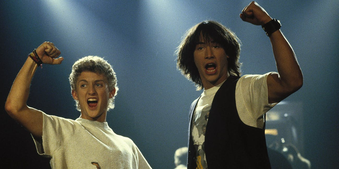 Still photo of Bill (Alex Winter) and Ted (Keanu Reeves) in 'Bill & Ted's Excellent Adventure'