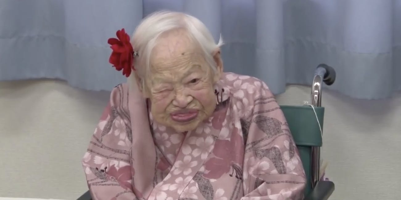 Misao Okawa at her 116th birthday party