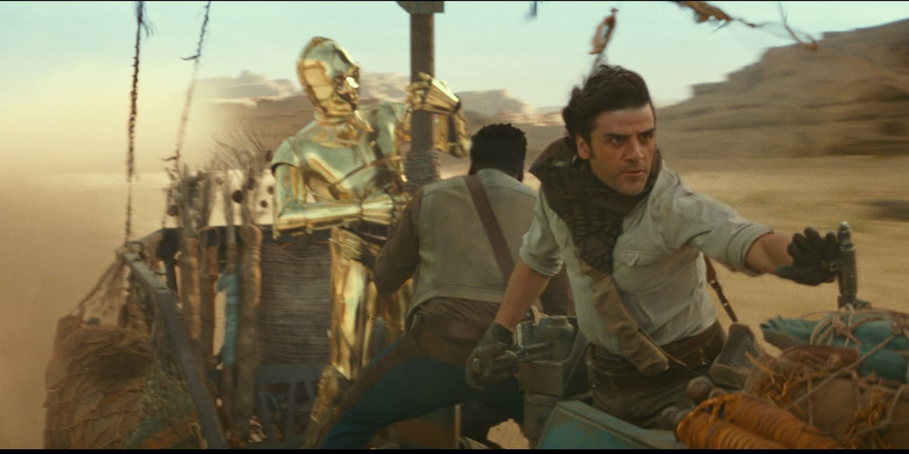 Poe, Finn and C-3PO in 'The Rise of Skywalker'