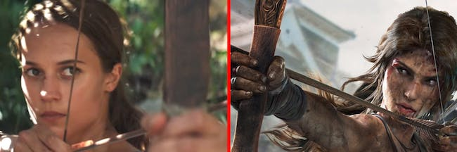 Lara Croft in the upcoming 'Tomb Raider' movie and from the 2013 video game.