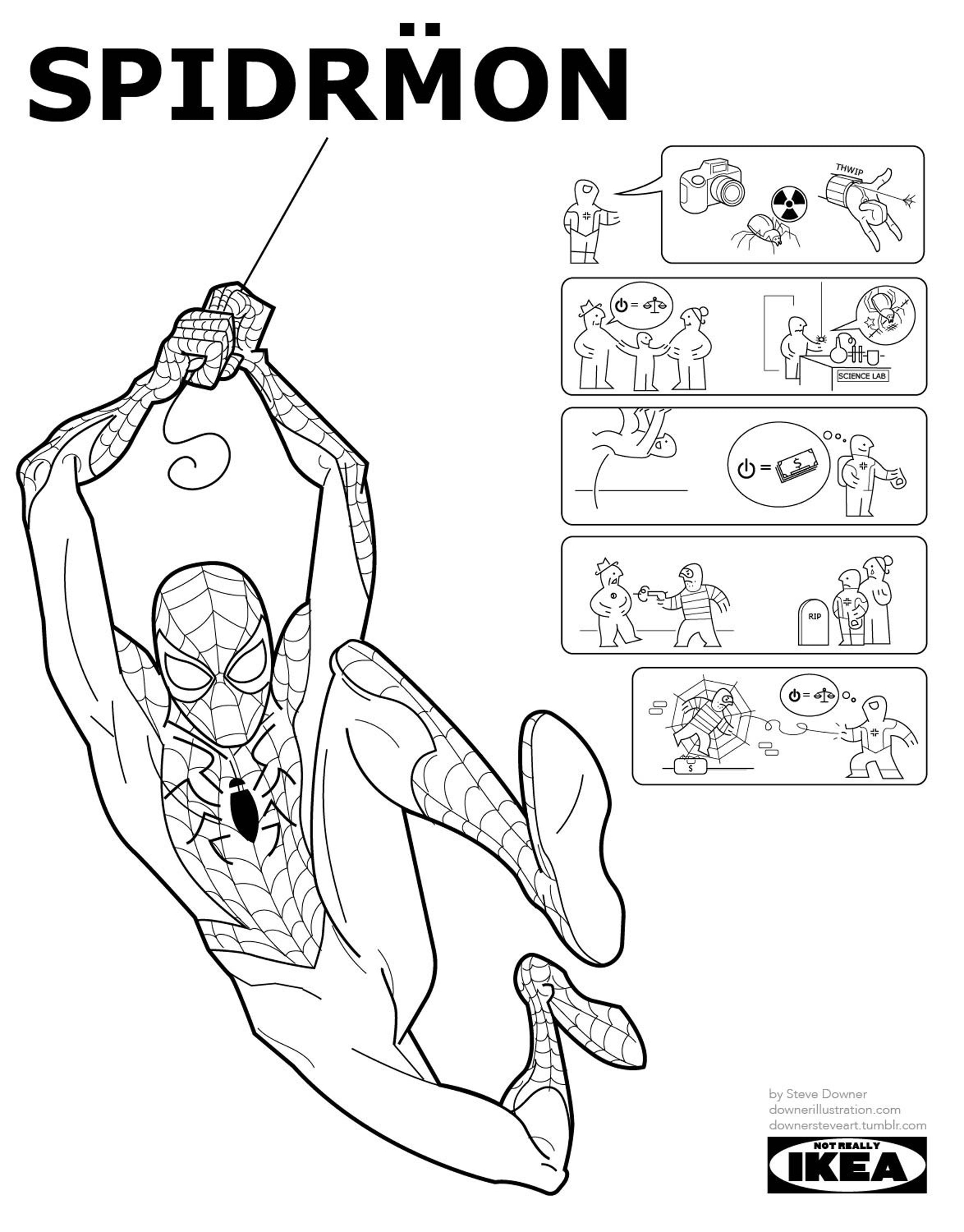 Iconic Superhero Origin Stories as Ikea Instruction