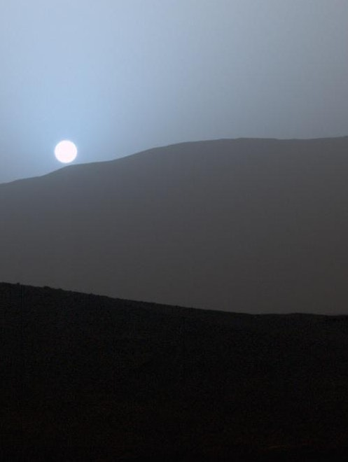 The Curiosity Rover's view of the Gale Crater, Mars.