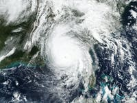 Hurricane Michael landfall over Florida panhandle.