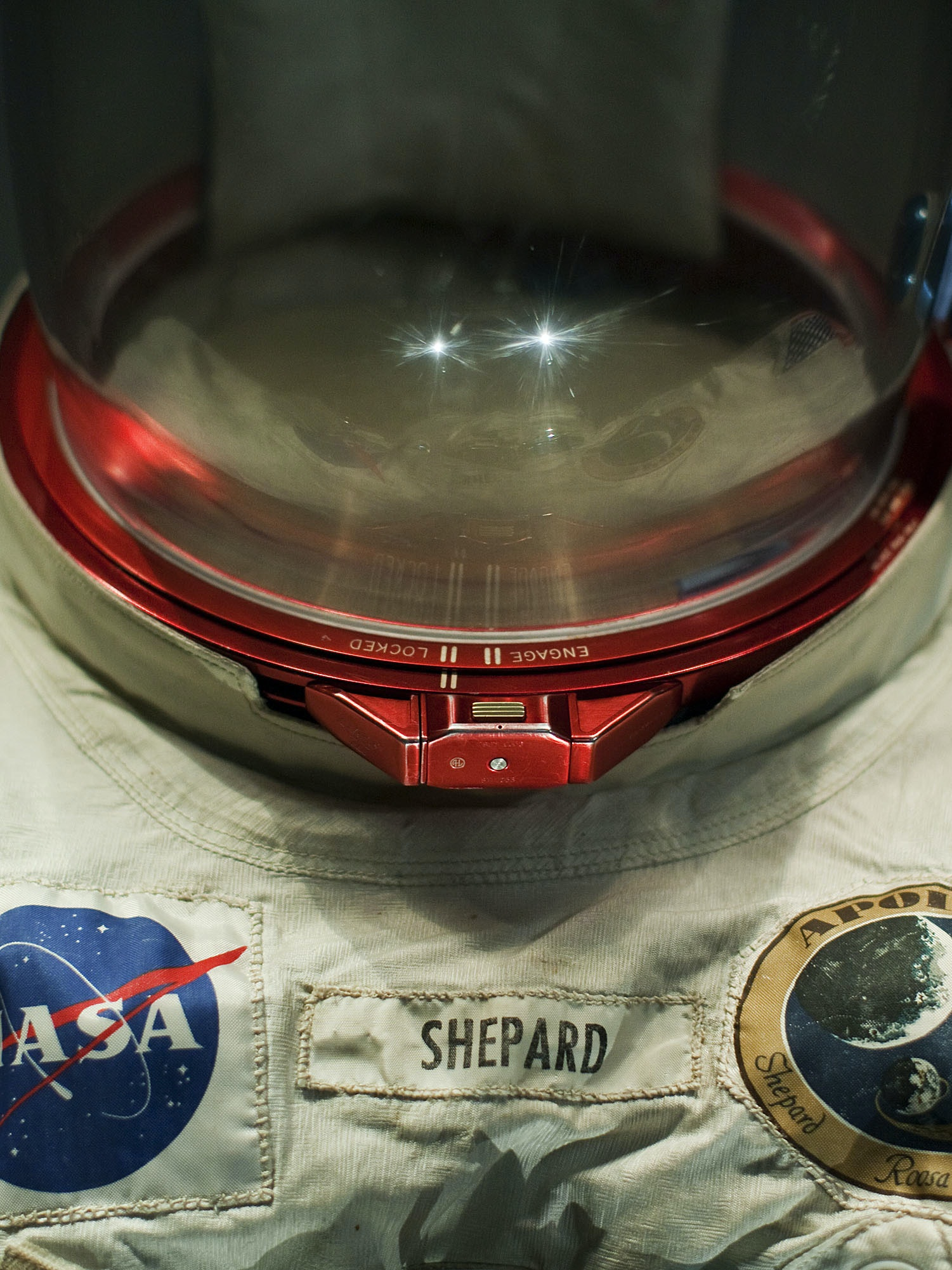 Alan Shepard's extra-vehicular suit is on display at the Apollo Treasures Gallery at the Kennedy Space Center Visitor Complex July 16, 2009 in Cape Canaveral, Florida. The gallery opening celebrates the 40th anniversary of the Apollo moon landing.