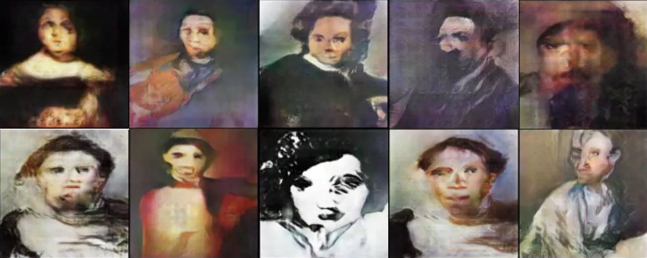 Deformed faces made by A.I. art