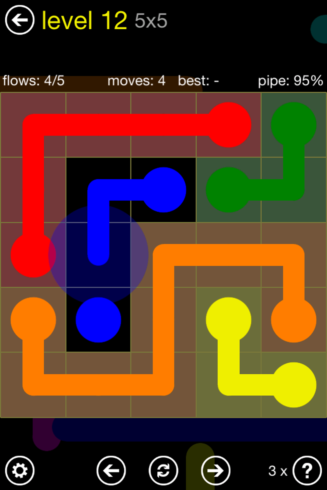 Connect same colored dotes to win.