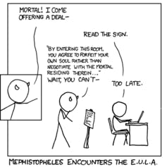 Faust 2.0: Mephistopheles encounters the End User License Agreement, also often called 'Terms of Service.'