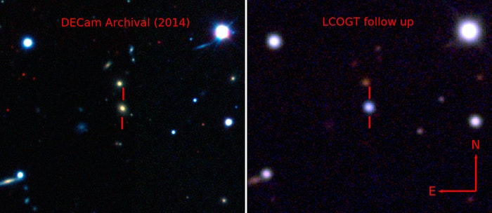 Pseudo-color images showing the host galaxy before the explosion of ASASSN-15lh taken by the Dark Energy Camera (left), and the supernova by the Las Cumbres Observatory Global Telescope Network 1-meter telescope network (right).