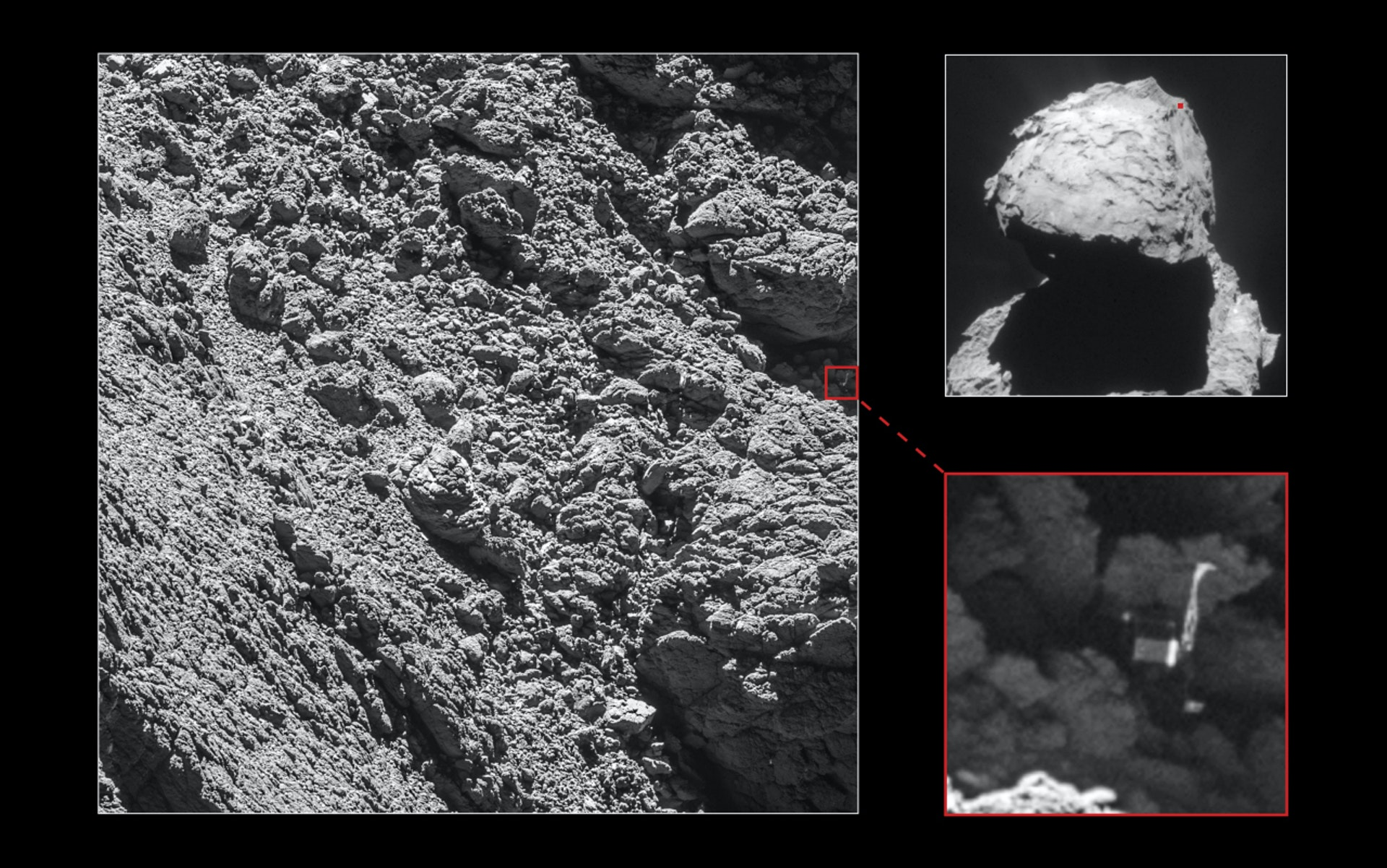 Can you spot it? The Rosetta mission's Philae lander hides in a crevasse on Comet 67P/Churyumov-Gerasimenko's surface, where scarce sunlight hindered solar powered equipment.