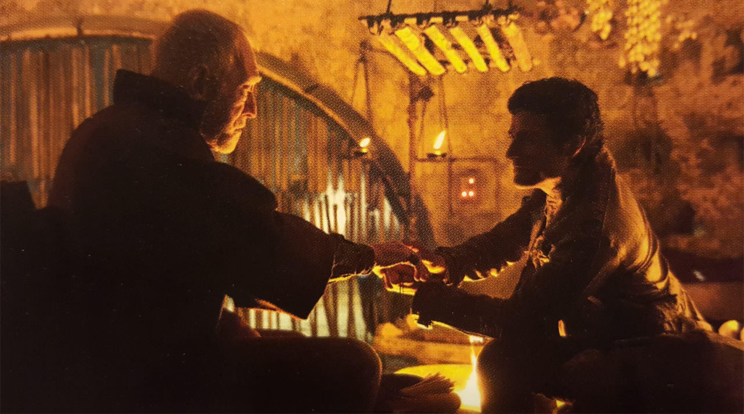 Lor San Tekka with Poe Dameron in 'The Force Awakens'