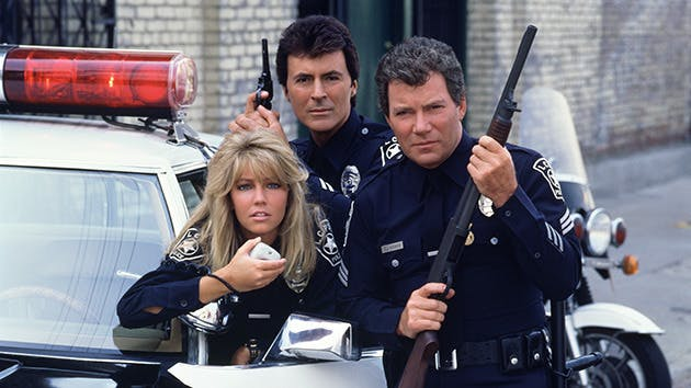 Heather Locklear (left) with James Darren and William Shatner in 'T.J. Hooker.'